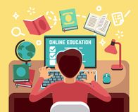 Free Student Or School Boy Studying On Computer. Online Lesson And Education Vector Concept Stock Images - 114522764