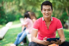 Student outdoors royalty free stock photography