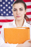 Student over american flag Stock Photo