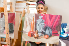 Student at the painting studio Stock Images