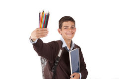 Student with paints Royalty Free Stock Photos