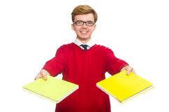 Student with paper isolated on white Stock Image