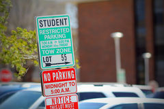 Student parking. College student parking lot sign Royalty Free Stock Photography