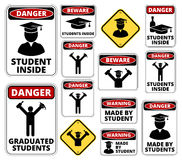 Student party. Drunk student party funny joke danger signs set. Vector EPS8 Royalty Free Stock Photo