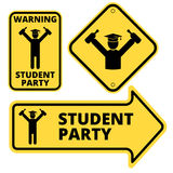 Student party. Funny joke danger signs set. Vector EPS8 Stock Photo