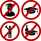 Student party. Restricted  Student  and drunk party funny joke danger signs set. Vector EPS8 Royalty Free Stock Photo