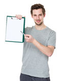 Student pen point to clipboard Royalty Free Stock Images