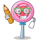 Student with pencil cute lollipop character cartoon. Vector illustration Stock Photography