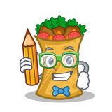 Student with pencil kebab wrap character cartoon. Vector art vector illustration