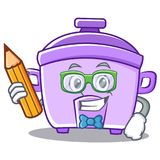 Student with pencil rice cooker character cartoon Stock Photos