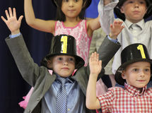 A Student Performance at a Kindergarten Graduation Stock Photography