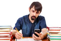 Student with a Phone Royalty Free Stock Photography