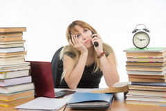 Student phoned to ask for help in writing of the course project Stock Image