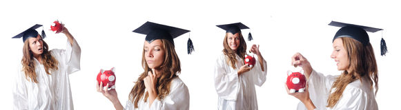 The student and piggy bank on white Stock Photos