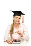 Student with piggybank Stock Photos
