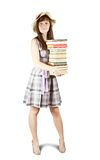 Student with pile of books Royalty Free Stock Image