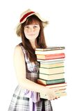 Student with pile of books Royalty Free Stock Photo