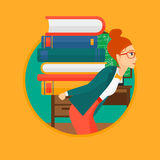 Student with pile of books. Royalty Free Stock Photos