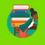Student with pile of books vector illustration. Royalty Free Stock Photography