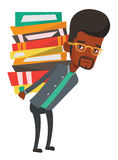 Student with pile of books vector illustration. Royalty Free Stock Image
