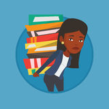 Student with pile of books vector illustration. Stock Photos