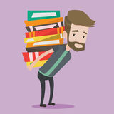 Student with pile of books vector illustration. Stock Photography