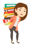 Student with pile of books vector illustration. Royalty Free Stock Photo
