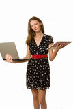 Student with Daily Planner and laptop. What to choose Stock Images