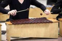 Student playing Diatonic Xylophone with mallets stock photo