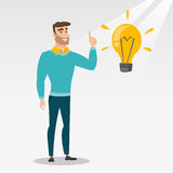Student pointing at idea bulb vector illustration Royalty Free Stock Images