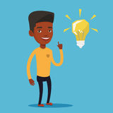 Student pointing at light bulb vector illustration Royalty Free Stock Photo