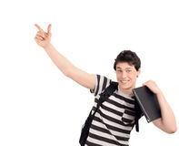 Student pointing up. Stock Photography