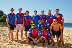 Student / police beach soccer comp Royalty Free Stock Image