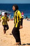 Student / police beach soccer comp Stock Photo