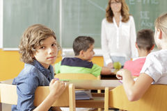 Student portrait in the classroom Stock Photography
