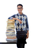 Student posing. Young happy student posing isolated over white background Stock Photo
