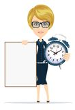 Student with a poster and an alarm clock, vector Stock Photography