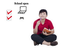Student  prepare school open. Student thinking how to prepare school open Stock Photo