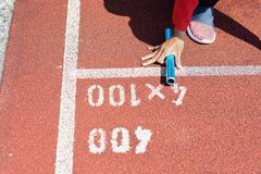 Student prepare to leaving the starting for relay race at school. Sports day. School sports day concept stock photos