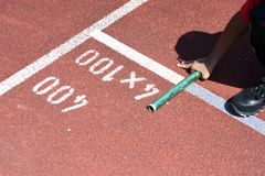 Student prepare to leaving the starting for relay race at school. Sports day. School sports day concept royalty free stock photos
