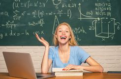 Student preparing for college exams. Student. Happy mood smiling broadly in university. Education and campus people