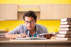 The student preparing for exam sitting at the kitchen royalty free stock photos