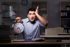 The student preparing for exams late at night. Student preparing for exams late at night Royalty Free Stock Image