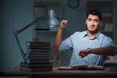 The student preparing for exams late at night. Student preparing for exams late at night Royalty Free Stock Images