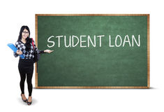 Student presenting student loan text Stock Images