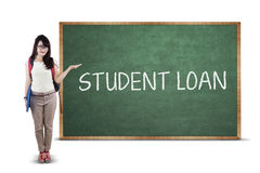 Student presenting student loan text Royalty Free Stock Images