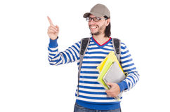 Student pressing virtual button isolated Royalty Free Stock Photography