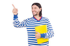 Student pressing virtual button isolated Stock Image