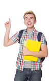 Student pressing virtual button isolated Royalty Free Stock Images