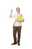 Student pressing virtual button isolated Royalty Free Stock Photos